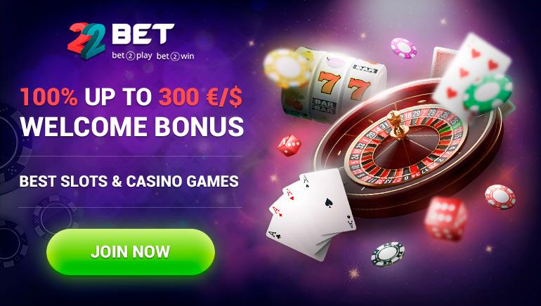 22Bet Casino - BONUS DE BUN VENIT - $300 - 100% Match Bonus