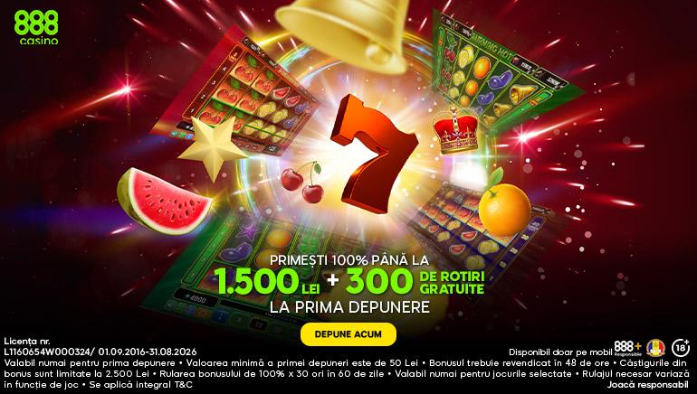 888 Casino Romania - 300 DE ROTIRI GRATUITE NETENT LA PRIMA DEPUNERE